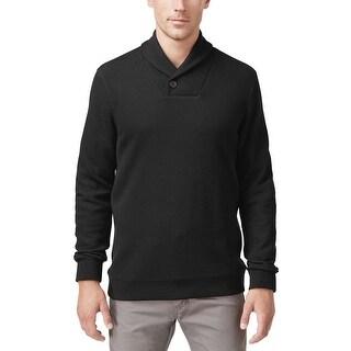 Tasso Elba Big and Tall Textured Shawl Collar Sweater Deep Black XLT