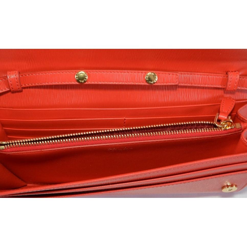 New Prada 1BP290 Red Leather Borsa Portafoglio Chain on Wallet Crossbody Purse