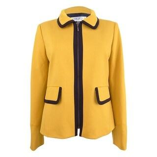 Kasper Women's Contrast-Trim Jacket - marigold/black
