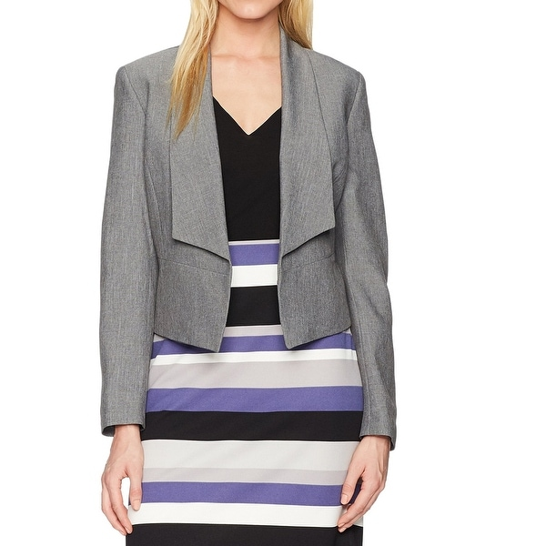 Nine West Heather Gray Womens Size 14 Draped Open-Front Jacket