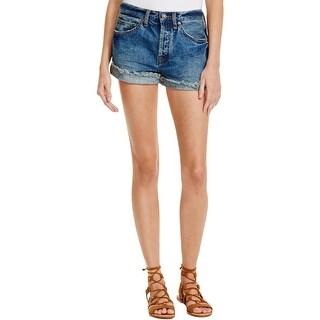 Free People Womens Uptown Cutoff Shorts Denim Frayed Hem