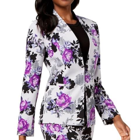 Nine West Women's Topper Jacket Purple Silver Size 8 Floral Kiss