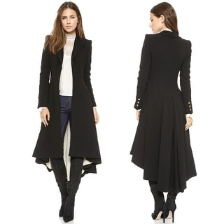 Women's Slim Long Dovetail Turn-Down Collar Trench Coat