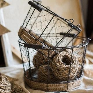 RusticReach Wire Carry Basket With Hemp Rope Bottom Round