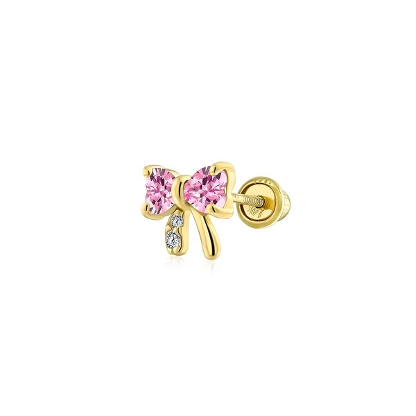 Minimalist CZ Tiny Ribbon Bow Cartilage Earring 14K Gold Screwback. Opens flyout.