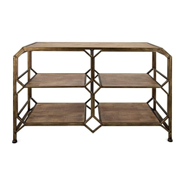 """46"""" Wooden Brown and Golden Colored Rustic Finish Decorative Console Shelf - N/A"""
