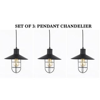 Set of 3-Vintage Barn Metal Pendant Chandelier Industrial Rustic