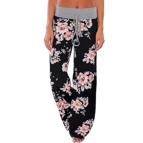 Women's Pajama Lounge Pants Floral Print Stretch Wide Leg Pants