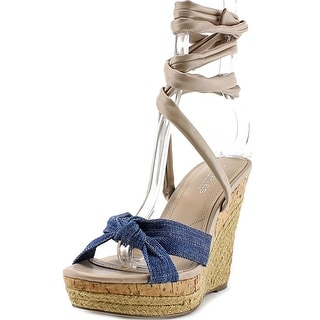 Charles By Charles David Aaron Open Toe Canvas Wedge Sandal