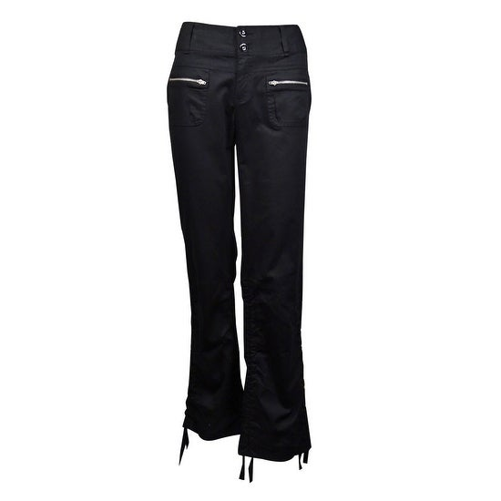 INC International Concepts Women's Cropped Ruched Utility Pants - Deep Black