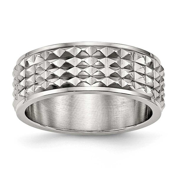 Stainless Steel Polished Studded Ring (8 mm) - Sizes 8 - 13