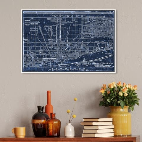 Oliver Gal 'Chicago Railroad Blueprint Map' Maps and Flags Wall Art Framed Canvas Print US Cities Maps - Blue, White