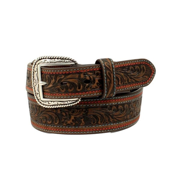 Nocona Western Belt Mens Leather Floral Embossed Tapered