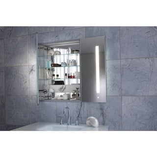"Robern AC3630D4P2L AiO 36"" x 30"" x 4"" Double Door Medicine Cabinet with Large Door at Left, Task Lighting, and Interior"