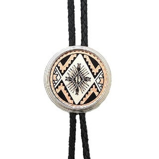 Aztec Round Bolo Tie with Silver Tips - One size