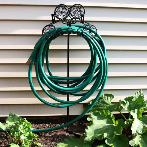 Sunnydaze Metal Garden Hose Stand Holder with Decorative Clover Design