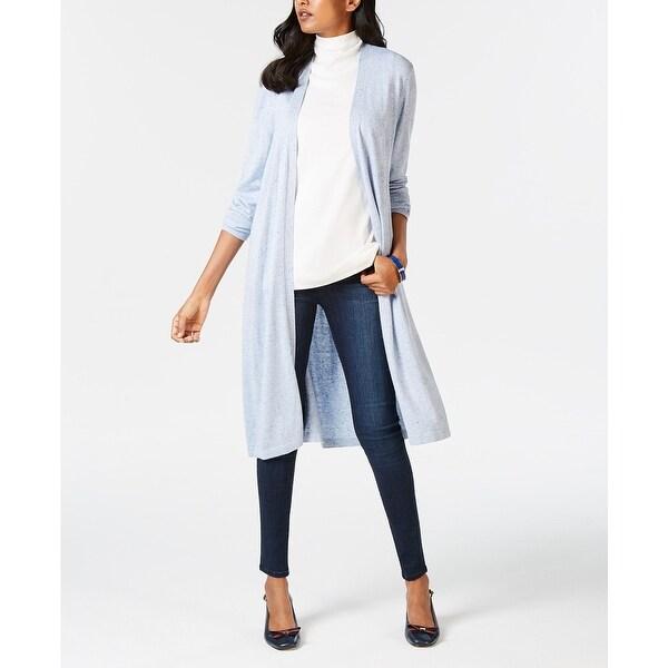 Charter Club Women's Petite Open Front Duster Cardigan Light Blue Size Medium
