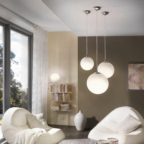 Eglo Rondo 60-watt 1-light Pendant with Matte Nickle Finish and Opal Glass
