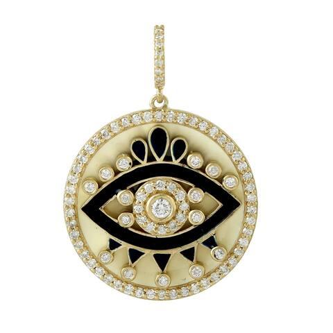 14K Yellow Gold Evil Eye Diamond Pendant Enamel Jewelry