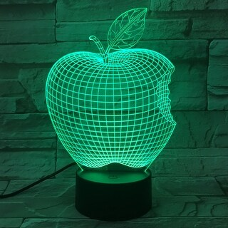 3D Illusion Bulbing Apple Lamp Acrylic LED Night Light Micro USB Table Desk Lamp