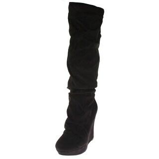 Michael Antonio Womens Elaina Wedge Boots Microfiber Platforms