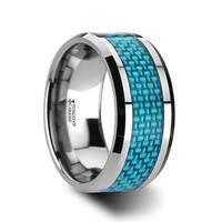 THORSTEN - AUGUSTUS Blue Carbon Fiber Inlay Tungsten Carbide Band - 10mm