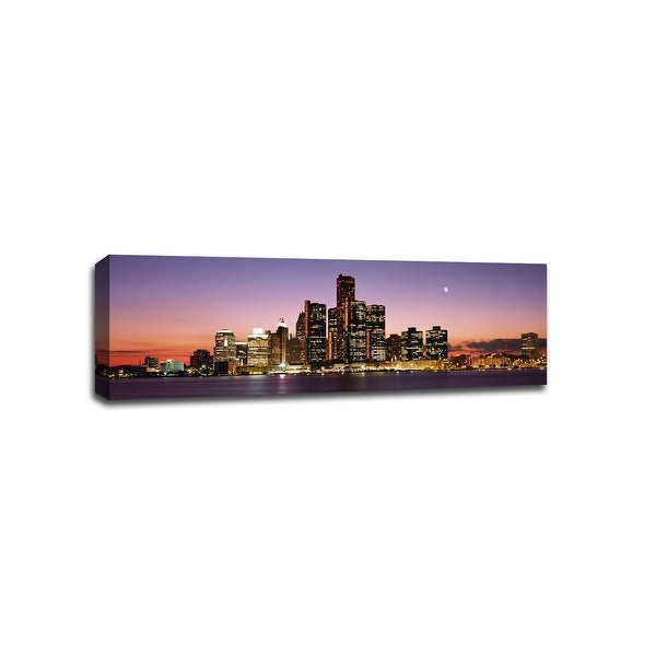 Detroit - Cityscapes - 48x16 Gallery Wrapped Canvas Wall Art
