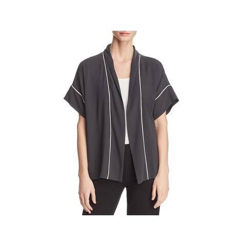Eileen Fisher Womens Kimono Silk Open Front