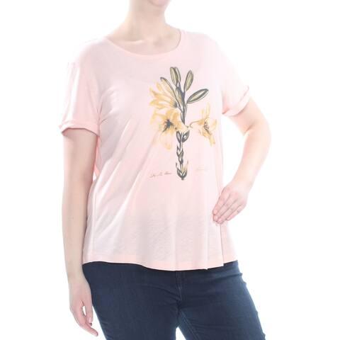 RALPH LAUREN Womens Pink Cuffed Graphic Print Short Sleeve Top Plus Size: XL