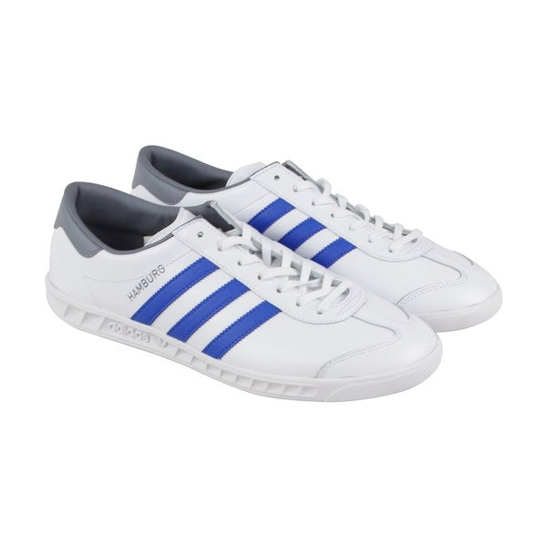 7c3ae2aa8df8 Shop Adidas Hamburg Mens White Leather Lace Up Sneakers Shoes - Free ...