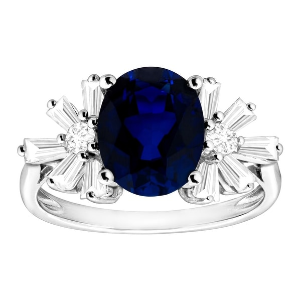 4 1/2 ct Created Blue & White Sapphire Starburst Ring in Sterling Silver