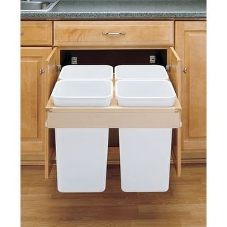 Rev-A-Shelf 4WCTM-27-4-597-FL 4WCTM Top Mount Quadrouple Bin Trash Can for Frame