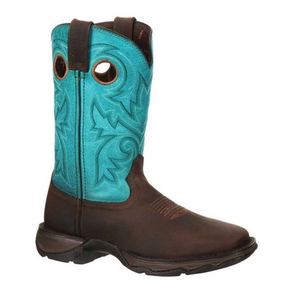 Durango Boot Women's DWRD022 Lady Rebel Western Steel Toe Boot Brown/Turquoise Full Grain Leather