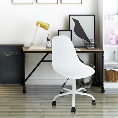 Porch & Den Waterford White Swivel Office Chair