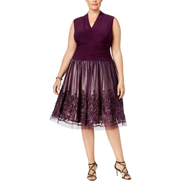 SL Fashions Womens Plus Cocktail Dress Lace Sleeveless
