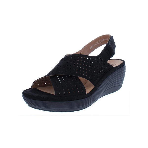 e71ff371250 Clarks Womens Reedly Wedge Sandals Perforated Open Toe - 8.5 medium (b