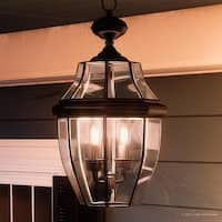 "Luxury Colonial Outdoor Pendant Light, 19""H x 11""W, with Tudor Style, Versatile Design, Black Silk Finish"