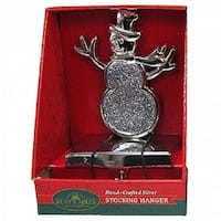 "7"" Shiny Silver Metallic Christmas Snowman Decorative Stocking Holder"