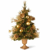 3 ft. Decorative Collection Elegance Entrance Tree with Clear Lights - GOLD