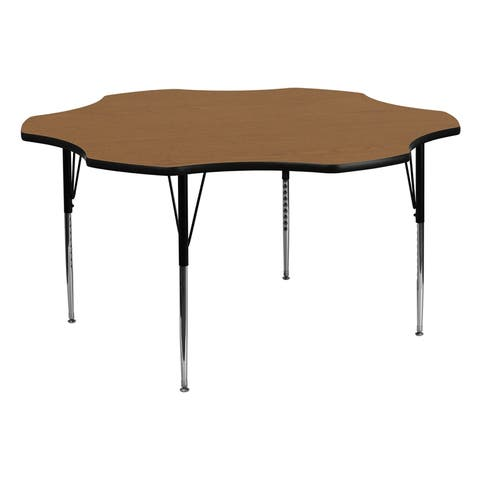 Offex 60'' Flower Shaped Activity Table with Oak Thermal Fused Laminate Top and Standard Height Adjustable Legs
