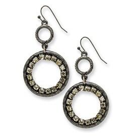 Black IP Black Crystal Round Drop Earrings