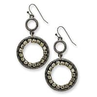Black IP Black Crystal Round Drop Earrings
