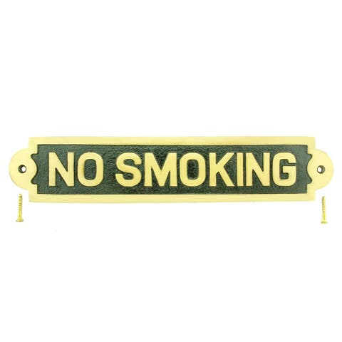 Solid Brass Plaques NO SMOKING Sign Polished Brass Plate