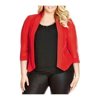 City Chic Womens Plus Open-Front Blazer Mixed Media Sheer Sleeves
