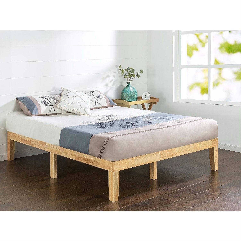 Full Size Solid Wood Platform Bed Frame In Natural Finish Overstock 29819308