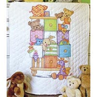 """34""""X43"""" - Baby Hugs Baby Drawers Quilt Stamped Cross Stitch Kit"""