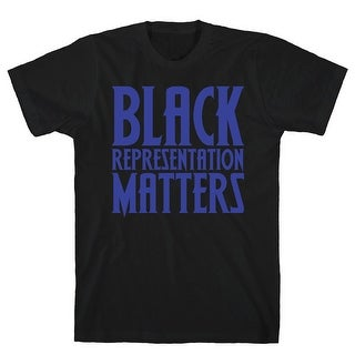 Black Representation Matters White Print Black Men's Cotton Tee by LookHUMAN
