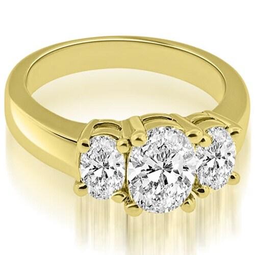 2.00 cttw. 14K Yellow Gold Three Stone Oval Cut Diamond Engagement Ring