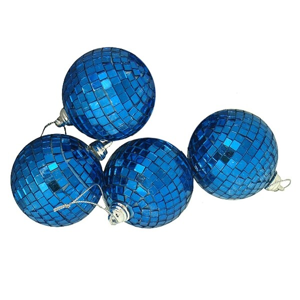"4ct Ocean Blue Mirrored Glass Disco Ball Christmas Ornaments 4"" (100mm)"