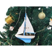 9 in. Wooden Light Blue Sailboat Model Christmas Tree Ornament